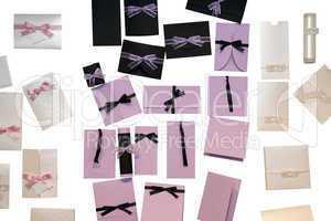 Elegant wedding invitations isolated on white