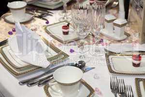 Elegant table set for a wedding dinner