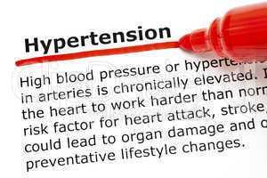 Hypertension underlined with red marker