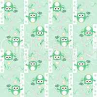 Seamless colourfull owl and birds pattern for kids