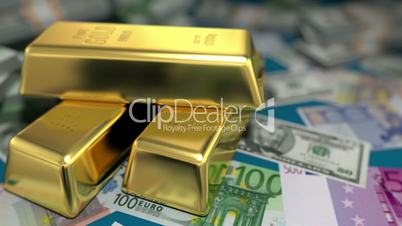 gold bars and money on a table