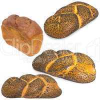 Assortment of different types of bread isolated on white backgro