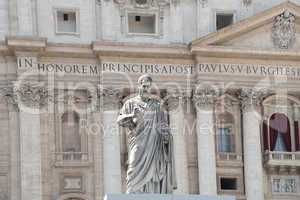 Statue facing the facade of Saint Peter's Basilica in Rome