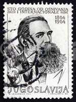 postage stamp yugoslavia 1964 friedrich engels, political theori