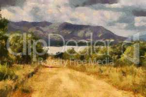 Gravel Road Leading to Dam Painting