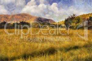 Picturesque Grassland Oil Painting