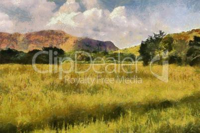 Picturesque Grassland Painting