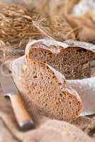 Freshly baked traditional bread - selective focus