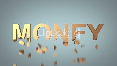 word money destruction concept over grey background
