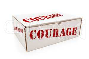 White Box with Courage on Sides Isolated