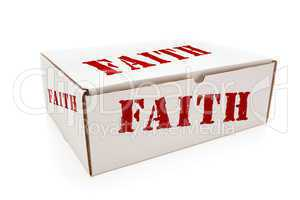 White Box with Faith on Sides Isolated