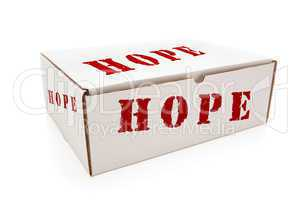 White Box with Hope on Sides Isolated
