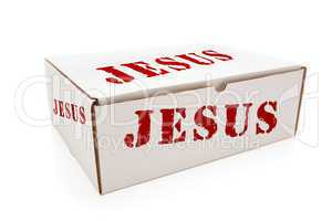 White Box with Jesus on Sides Isolated
