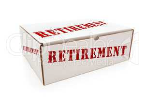 White Box with Retirement on Sides Isolated