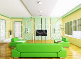 Interior of modern living room with lcd 3d