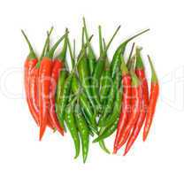 Heap Red and Green Chilli Hot Peppers