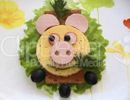 Sandwich - pig snout, food for children