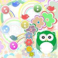 Template greeting card, owls flowers, birds, scrap book illustration