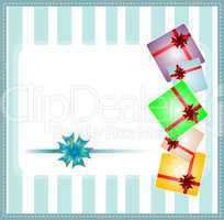 Holiday background with blue gift bow and gift boxes