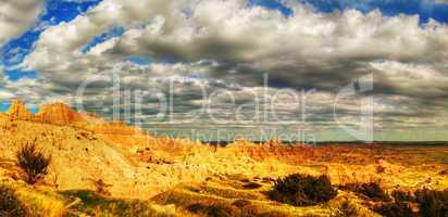 scenic view at badlands nationally park south dakota usa