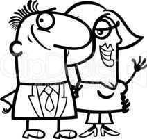 black and white happy couple cartoon