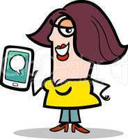 woman with message on tablet pc cartoon