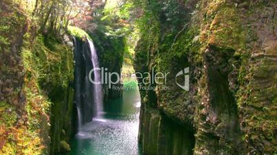 Rocks and spring waterfall