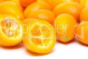 Heap Kumquat fruit (Fortunella) on white background