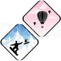 Snowboard Jumping in high mountains and air relax icons