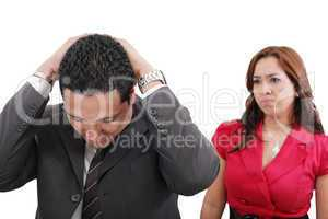 Young couple couple conflict, isolated over white background