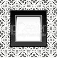 Frame with empty space on the floral wallpaper