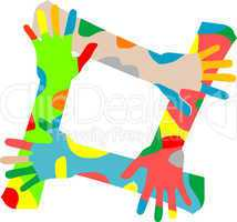 Multicolored hands isolated on a white background