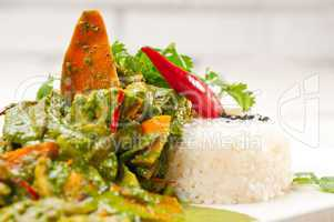 chicken with green curry vegetables and rice