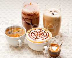 selection of different coffee type