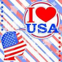 USA flag man with speech bubbles - i love usa