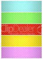 Weiß gepunktete Hintergrundstreifen: Blau, Grün, Rot, Gelb, Pink