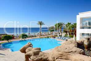 The beach with swimming pools at luxury hotel, Sharm el Sheikh,