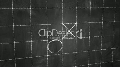 tick tack toe game on blackboard animation