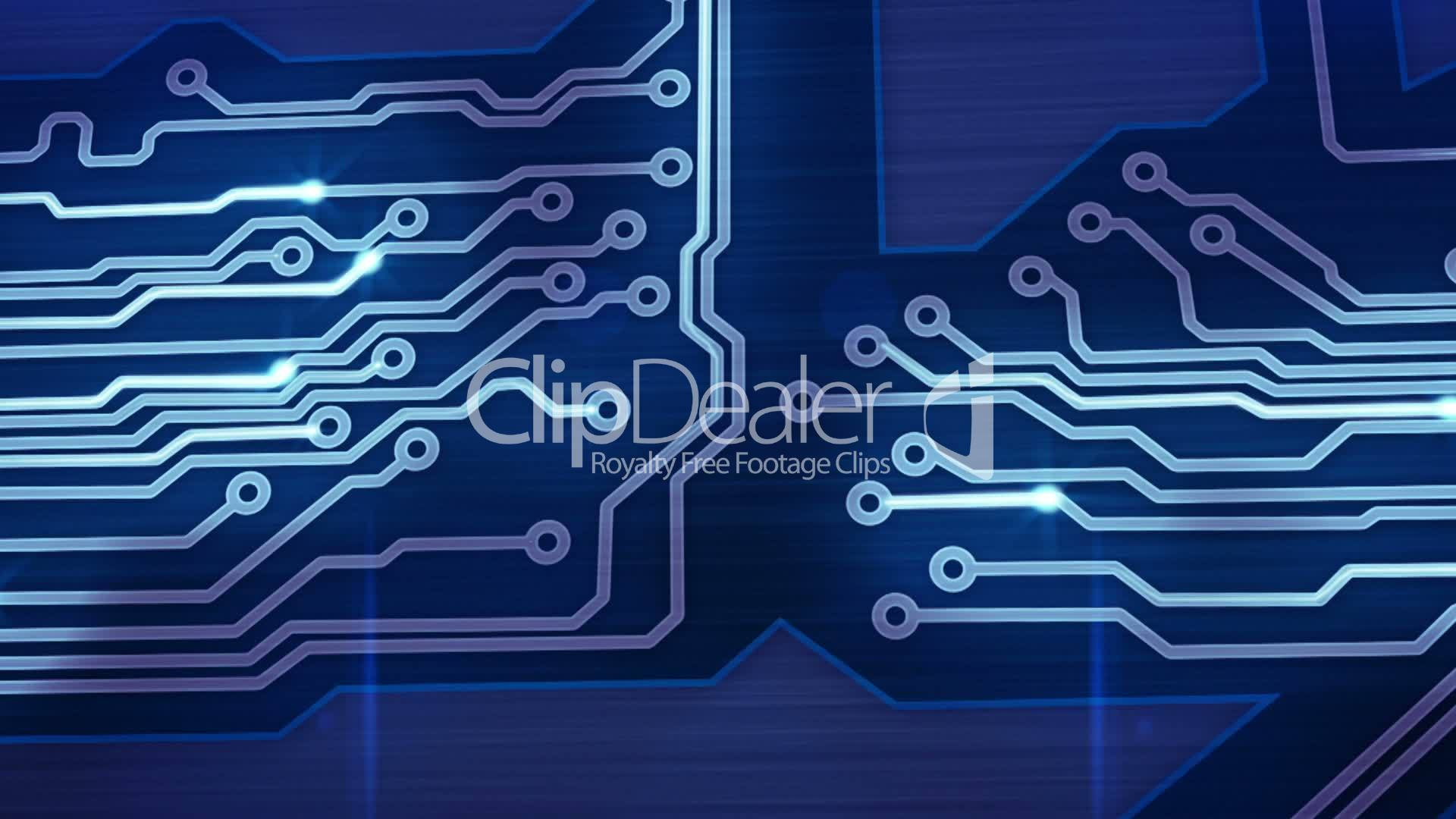 Blue Digital Circuit Board And Signals Pan Loop Royalty Free Video Computer With Binary Code Closeup Compostie Clips