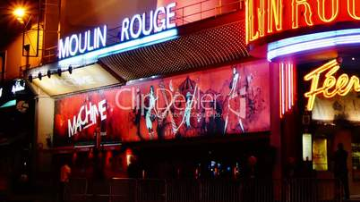 Moulin Rouge in Paris, time lapse night
