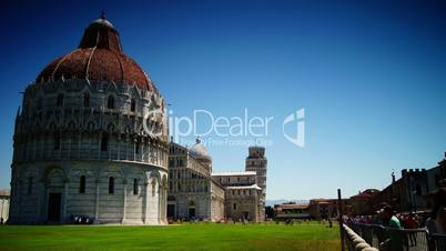 The basilica,baptistery and the Leaning Tower of Pisa, time-lapse