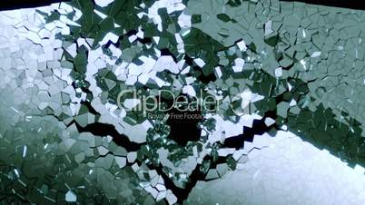 Shattered glass: broken heart shape with slow motion. Alpha is included