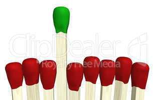 Zündholz Konzept - Grün ist Trumpf
