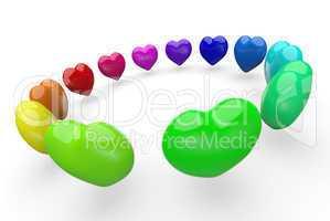 Bunte 3D Herzen im Kreis 1