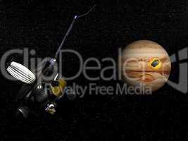 Galileo observing comet Shoemaker-Levy 9 crashing into Jupiter -