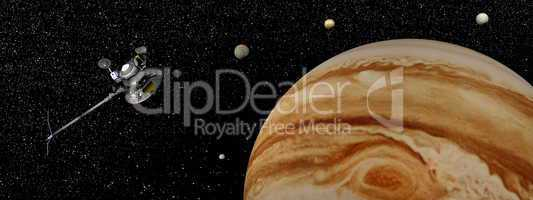 Voyager spacecraft near Jupiter and its satellites - 3D render