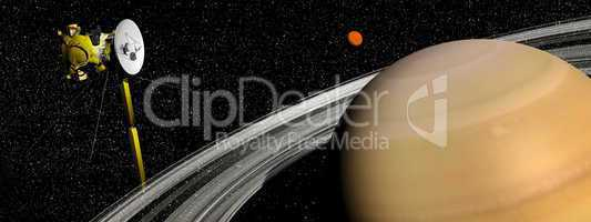 Cassini spacecraft near Saturn and titan satellite - 3D render