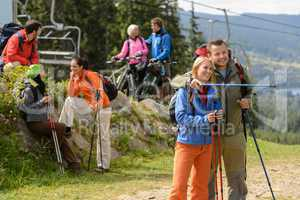Relaxing hikers and cyclists enjoying view