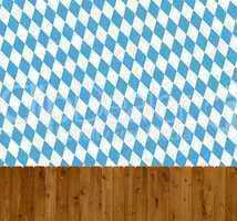 Holzzaun mit blau weißem Rautenmuster