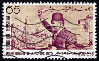 postage stamp tunisia 1975 habib bourguiba arriving at la goulet